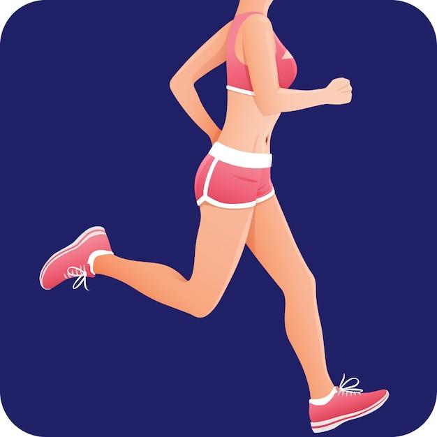 Garota fitness, desportista, corredor feminino no sportswear rosa correndo,