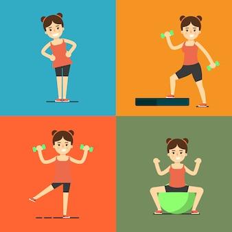 Garota fitness fazendo exercício, conjunto de ilustração
