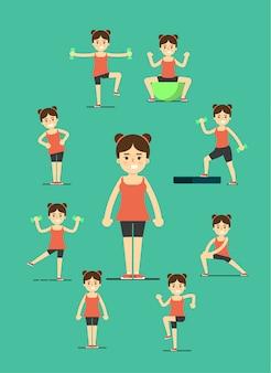 Garota fitness fazendo exercícios