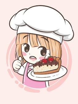 Garota fofa chef de padaria segurando um bolo de torta de chocolate - personagem de desenho animado e ilustração do logotipo