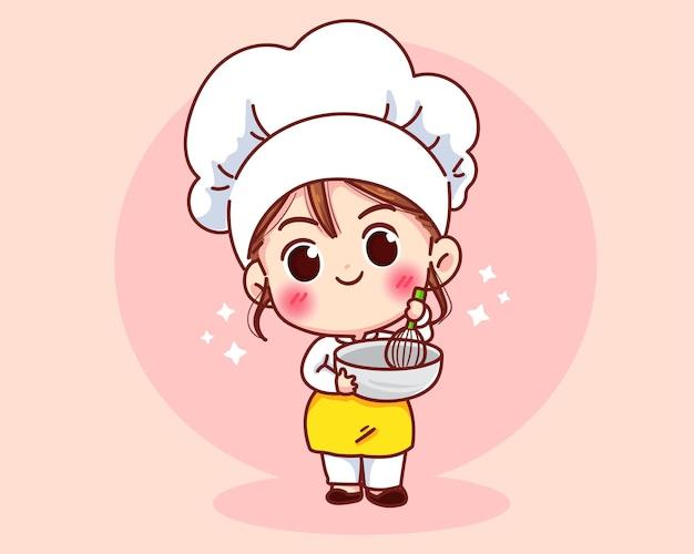 Garota fofa chef de padaria sorrindo com mascotes uniformes.