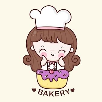Garota fofa chef desenho animado logotipo da padaria ilustração kawaii