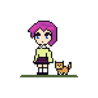 Garota fofa de pixel com personagem de anime de gatinho com animal de estimação