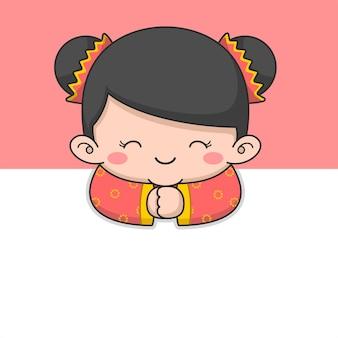 Garota fofa do ano novo chinês