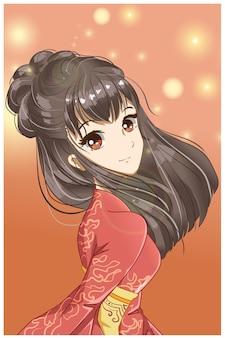 Garota fofa e bonita com ilustração de desenho de quimono vermelho