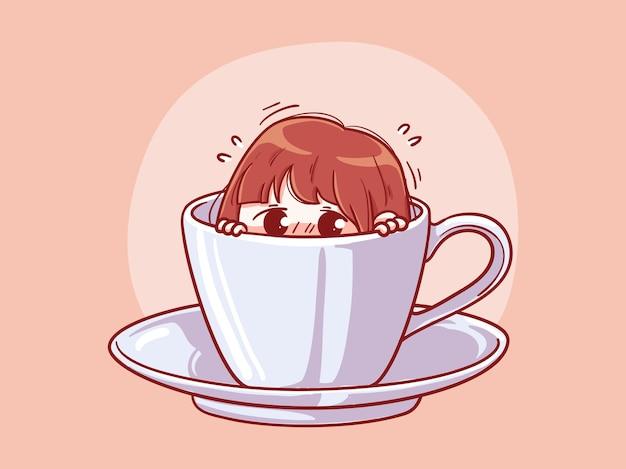 Garota fofa e kawaii com medo ou tímida se esconda em uma xícara de café manga chibi ilustração