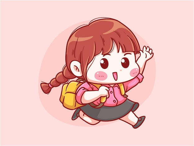 Garota fofa e kawaii correndo vai para a escola com mochila manga chibi