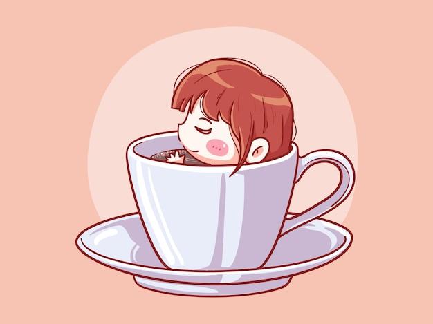 Garota fofa e kawaii relaxe e mergulhe em uma xícara de café manga chibi ilustração