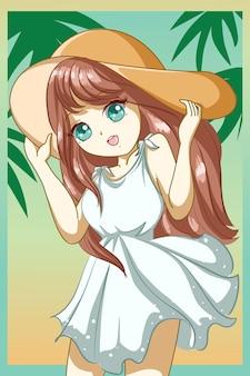 Garota fofa e linda com um vestido branco na praia na ilustração de desenho de personagem de design de verão