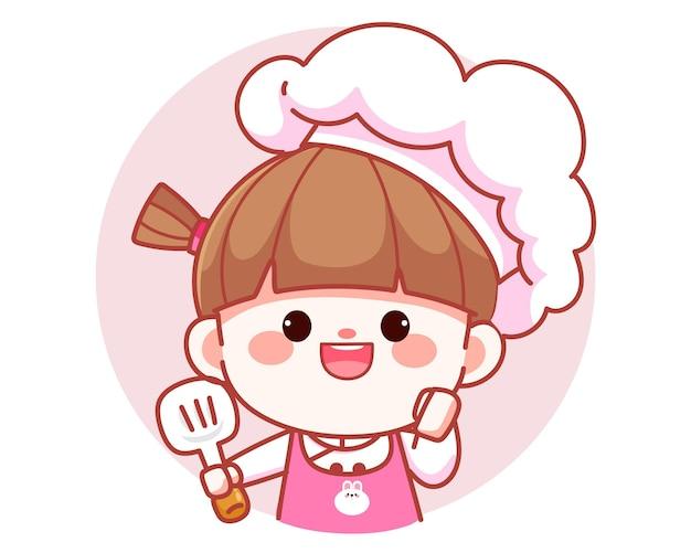 Garota fofa feliz chef sorrindo segurando o logotipo da bandeira da espátula ilustração da arte dos desenhos animados