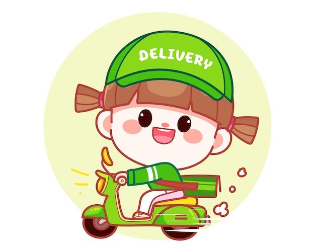 Garota fofa feliz entrega comida andando de motocicleta banner logo cartoon arte ilustração