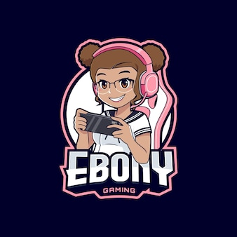 Garota gamer ébano com desenho do logotipo do smartphone