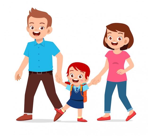 Garota garoto bonito feliz ir para a escola com a mãe e o pai