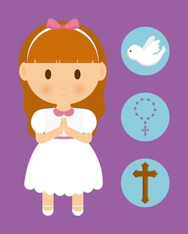 Garota garoto cartoon pomba atravessar ícone do rosário
