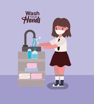 Garota garoto com máscara médica lavar as mãos