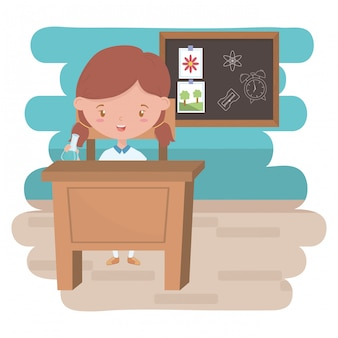 Garota garoto da escola em design de sala de aula