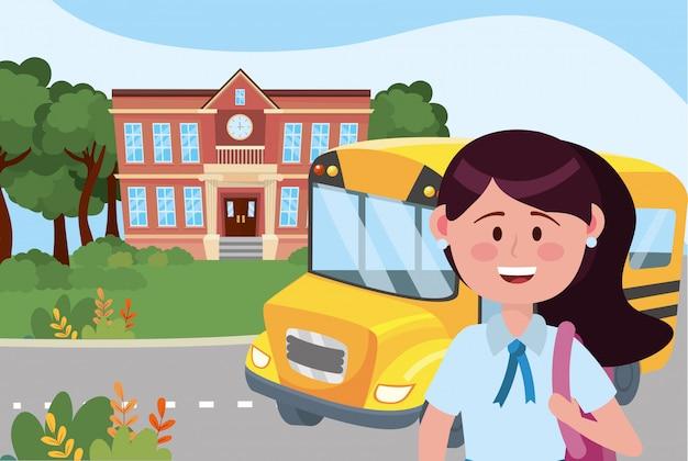 Garota garoto e escola de ônibus