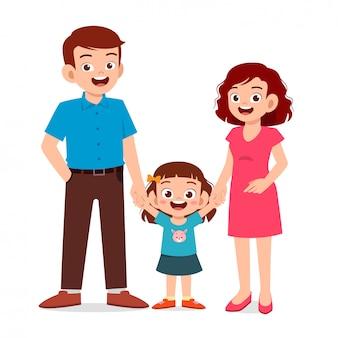 Garota garoto feliz e fofa com a mãe e o pai
