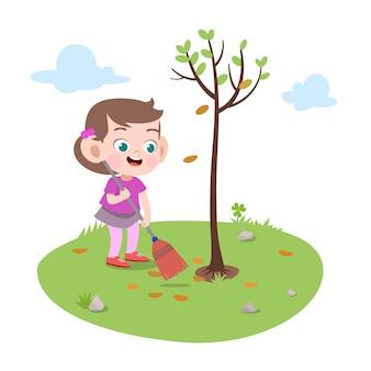 Garota garoto plantando ilustração de árvore