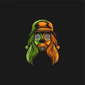 Garota gás máscara logotipo design ilustração