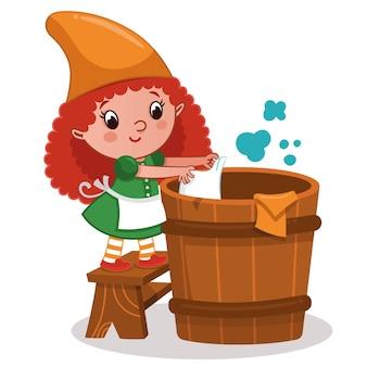 Garota gnomo lavando roupa. ilustração vetorial