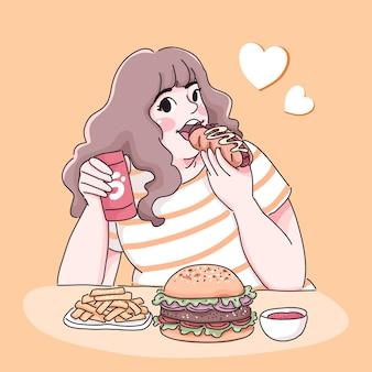 Garota gorda comendo ilustração
