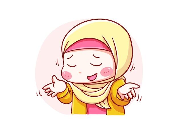 Garota hijab fofa e kawaii falando e não sei o que aconteceu ilustração chibi