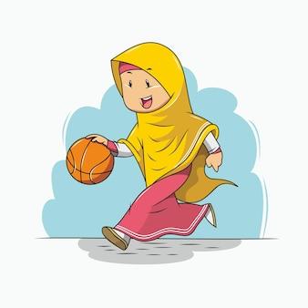 Garota hijab jogando basquete
