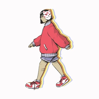 Garota hype kitsune isolada no branco