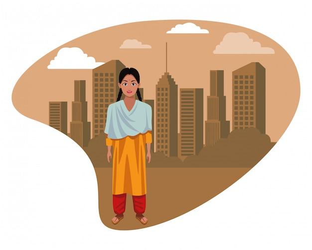Garota indiana, vestindo roupas tradicionais hindus