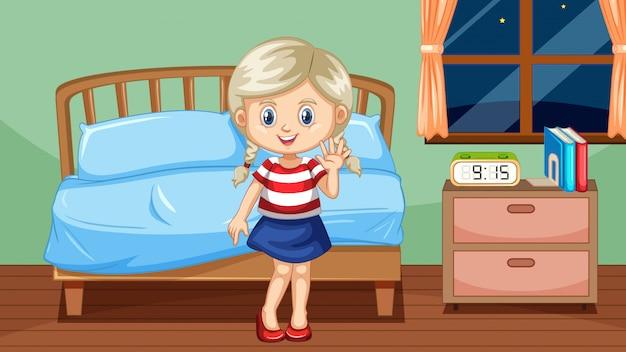 Garota indo para a cama à noite