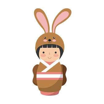 Garota japonesa vestindo um traje de quimono de coelho