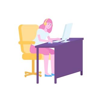 Garota jogadora jogando no computador, jovem personagem de desenho animado sentada na mesa com fones de ouvido e olhando para a tela