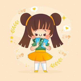 Garota kawaii segurando dinheiro de ienes