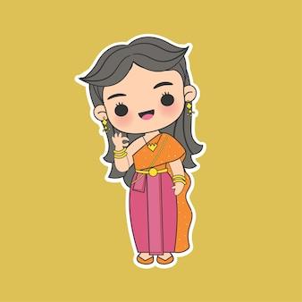 Garota kawaii tailandesa em personagem de desenho animado com vestido tradicional