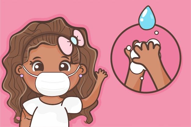 Garota lavando as mãos e usando uma máscara, hábito de higiene