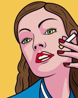 Garota legal com desenho de cigarro. expressão facial feminina