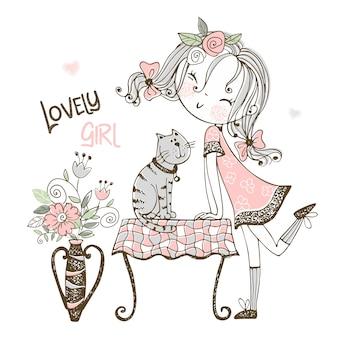 Garota legal com um gato estilo doodle