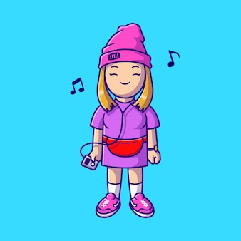 Garota legal ouvindo música com ilustração de ícone de vetor de desenhos animados de fone de ouvido. conceito de ícone de tecnologia de pessoas isolado vetor premium. estilo flat cartoon