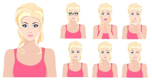 Garota loira com diferentes emoções faciais