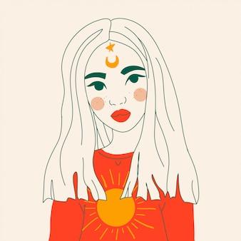 Garota mágica com lua e estrelas no rosto