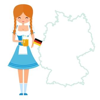 Garota mascote com rabo de cavalo em vestido tradicional da baviera segurando um copo de cerveja e a bandeira alemã