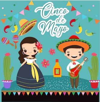 Garota mexicana e menino com elementos para cinco de maio