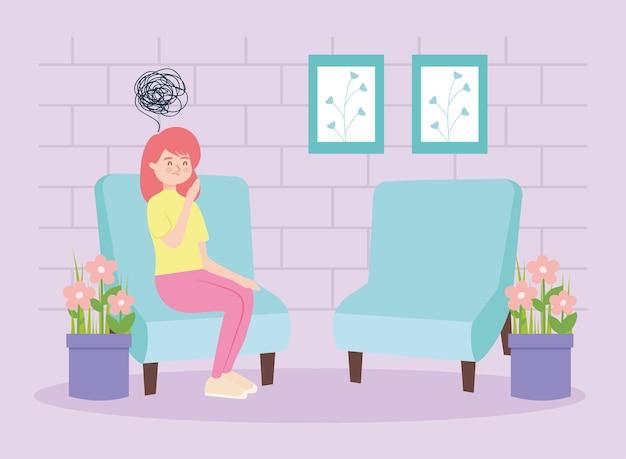 Garota na cadeira com estresse de terapia virtual