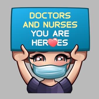 Garota na máscara médica segurando placa com mensagem