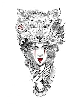 Garota na máscara ritual de um lobo