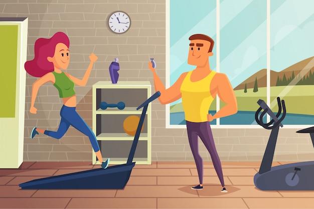 Garota na pista de corrida. ilustração de fitness de treinamento pessoal feminino