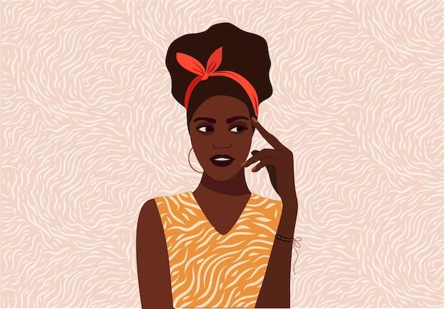 Garota negra pensando Vetor Premium