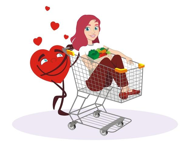 Garota no carrinho de compras