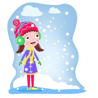 Garota no inverno nevando vector